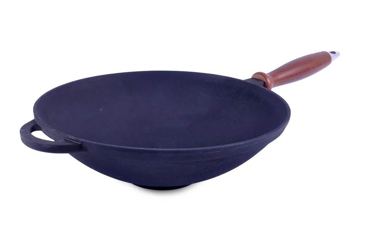 Сковорода чугунная ВОК с деревянной ручкой без крышки Ситон 1,7 л Кздр1-7
